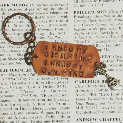 Hamilton The Musical Satisfied Stamped Charm Keychain - HAM4WESTEROS