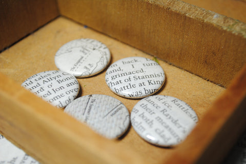 Game Of Thrones Set Of 5 Book Page 1 Inch Pins Quotes Maps Song Of Ice And F - HAM4WESTEROS - 1