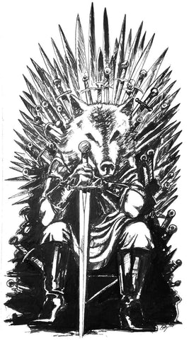 Game Of Thrones House Stark The North Remembers Red Wedding Robb Stark Iron Throne 11x17 Illustration Art Print - HAM4WESTEROS
