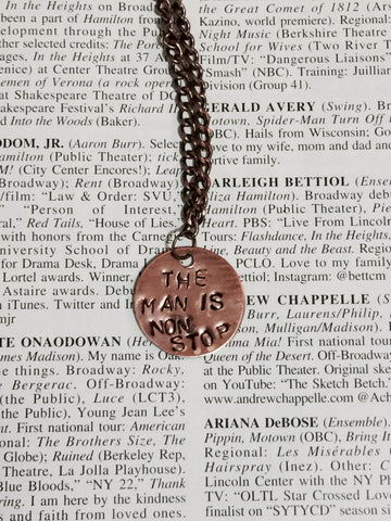 Hamilton The Musical Non Stop Antique Copper Stamped Necklace With Bronze Star Charm - HAM4WESTEROS