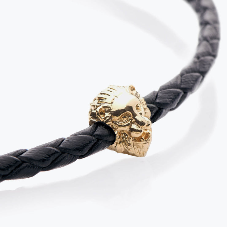 Gold Lion / Black Braided Leather