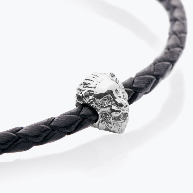 Silver Lion / Black Braided Leather