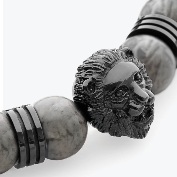 Lion Series - Black Grey Jasper - Limited Edition