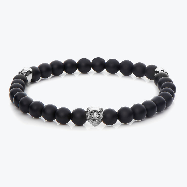 Silver Three Lions / Black Onyx