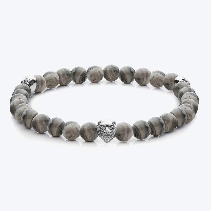 Silver Three Lions / Grey Jasper
