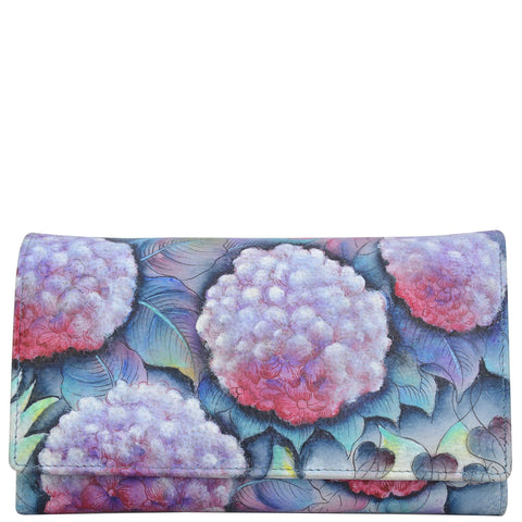 Anuschka Hypnotic Hydrangeas Checkbook Wallet