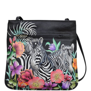 Anuschka Playful Zebras Slim Crossbody