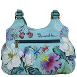Anuschka Jardin Bleu Triple Compartment Satchel