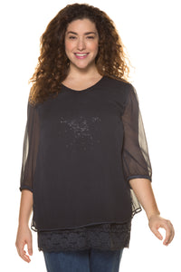 Ulla Popken Sheer Star Layer Blouse