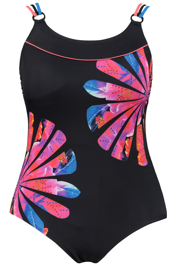 Ulla Popken Pop Art Floral Front Lined Swimsuit
