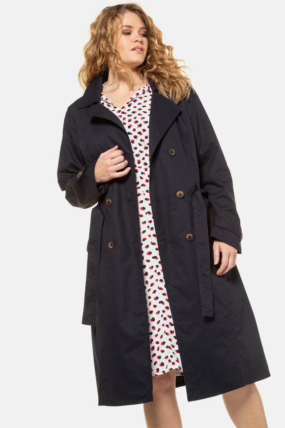 Ulla Popken Classic Double Breasted Fully Lined Trench Coat