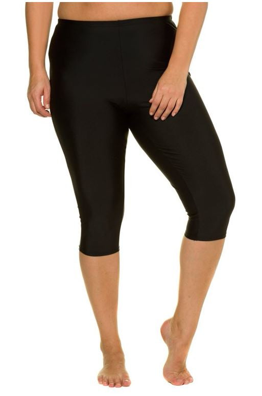 Elastic Waist Stretch Swim Capris