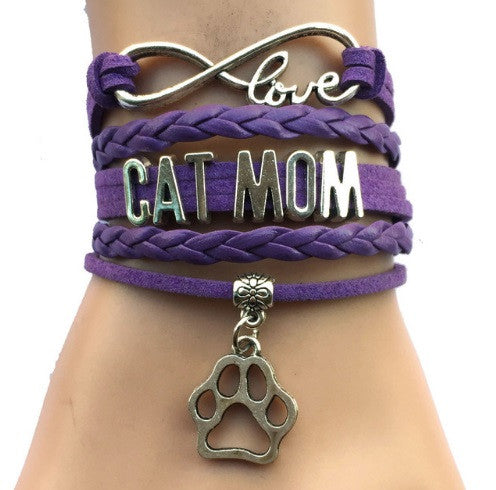 "Cat Lovers ""Cat Mom"" Charm Bracelet"