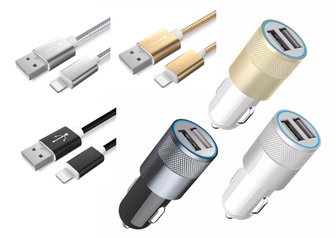 iPhone USB Dual Car Charger & Matching Cables