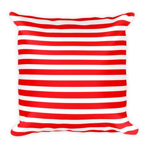 Red Striped Double-sided Square Pillow
