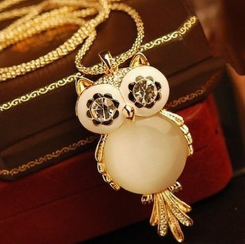 18K Gold Necklace With Crystal Owl Pendant
