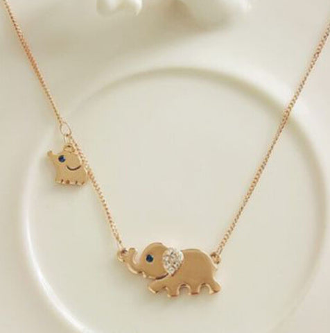 Cute Elephant Family Stroll Design - Charming Crystal Chain Necklace
