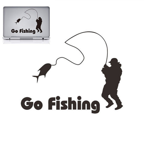 Go Fishing Car Sticker/Decal 14x11cm