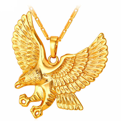 Eagle Necklace With Gold Plated Hawk Pendant