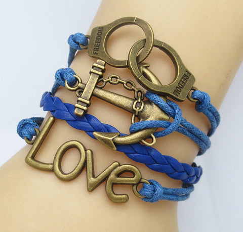 Multilayer Braided Vintage Bracelet & Bangle - Ancor and Handcuffs