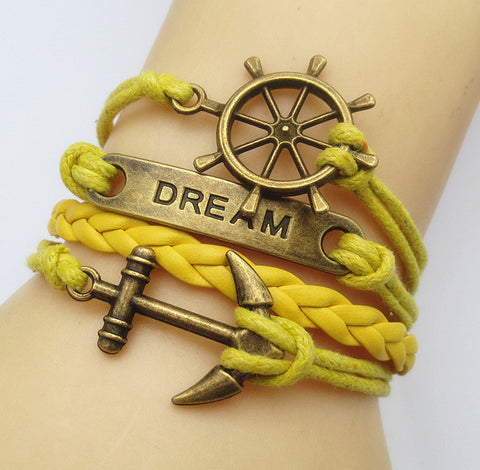Multilayer Braided Vintage Bracelet & Bangle - Ancor and Dream - Yellow