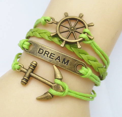 Multilayer Braided Vintage Bracelet & Bangle - Ancor and Dream - Green