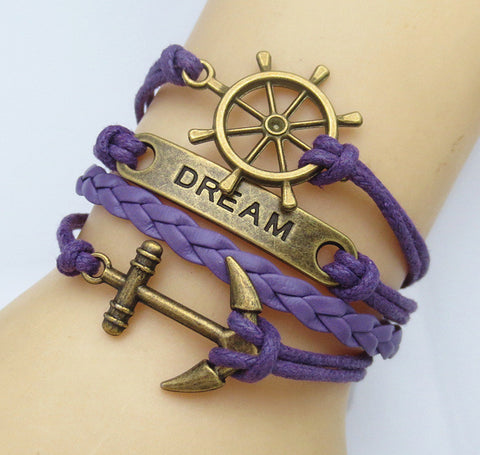 Multilayer Braided Vintage Bracelet & Bangle - Ancor and Dream - Violet