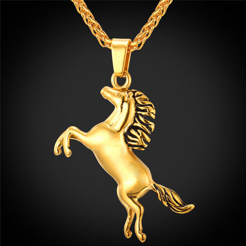 Gold Plated Stainless Steel Horse Necklaces & Pendants