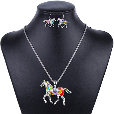 High Quality Silver Plated Multicolor Horse Jewelry