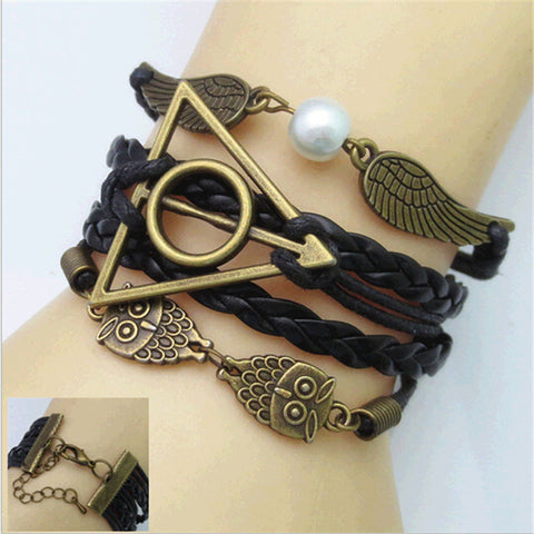 Women's Leather Multilayer Charm Bracelets - Owl and Wings