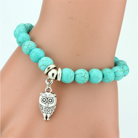 Turquoise Beads Bracelet With Owl, Elephant Or Cross Pendant