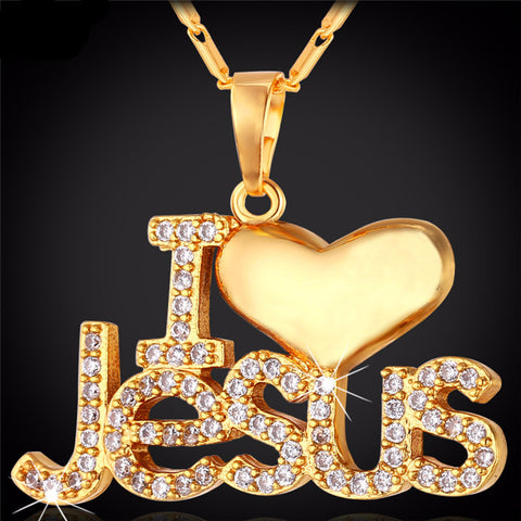 """I Love Jesus"" Heart Necklace & Pendant"