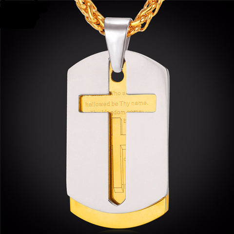 Cross Necklace With Pendant Bible Lords Prayer Tags