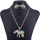 Hight Quality Silver Plated Multicolor Elephant Jewelry Sets
