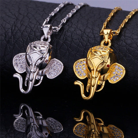 Necklace With Gold Plated Indian Elephant Pendant