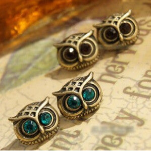 Crystal Studded Rhinestone Big Eye Owl Earrings