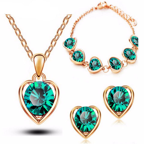 18K Gold & Silver Plated Crystal Heart Shape Jewelry Sets
