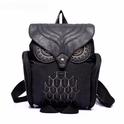 Women Leather Animal Owl Shape Backpack