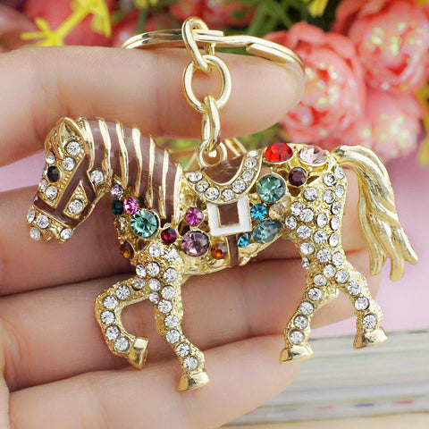 Multicolor Crystal Horse Keychain