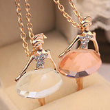 Shiny Crystal Ballet Girl Sweater Chain Necklace
