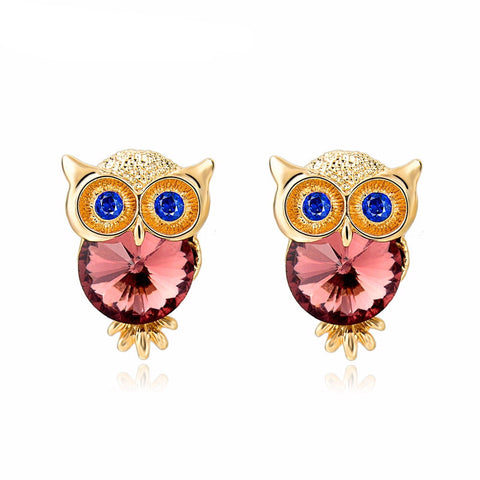 Crystal Owl Stud Earrings Gold Plated