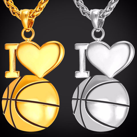 Necklace With I Love Basketball Pendant