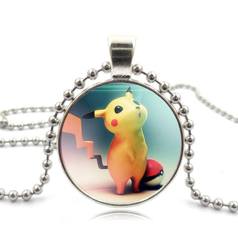 Silver Bead Chain Long Necklace With Pokemon Glass Pendant