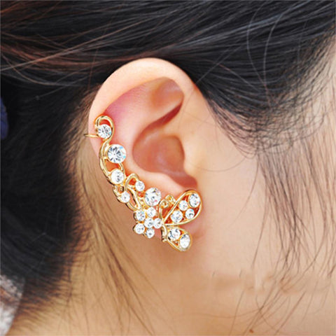 Trendy Crystal Butterfly Flower Clip Earring, Ear Cuff