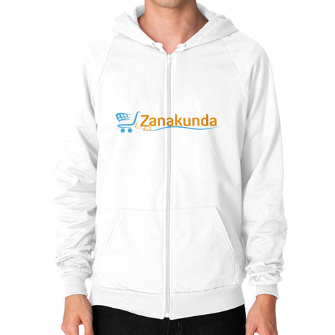 Zip Hoodie (on man) White Zanakunda