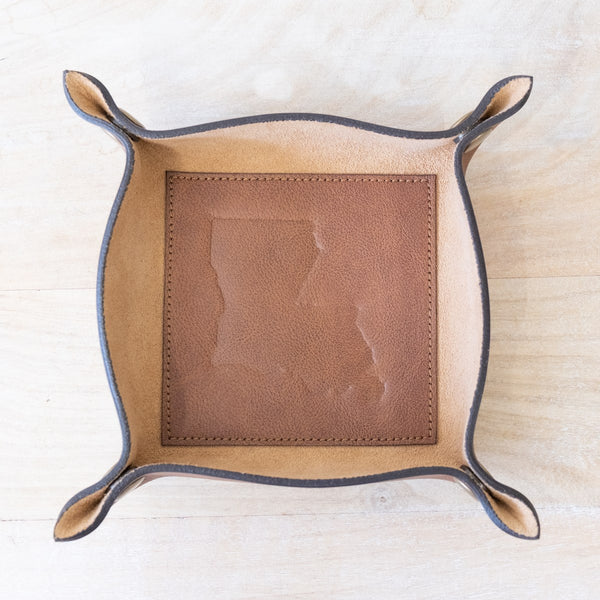 Louisiana Leather Embossed Valet Tray Antique Brown