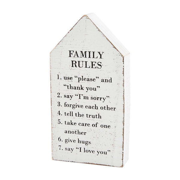 Family Rules House Plaque