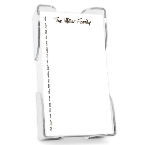 Family Pride List White with Crystal Clear holder
