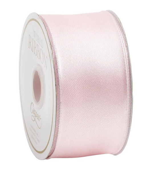 Solid Light Pink Satin Wired Ribbon