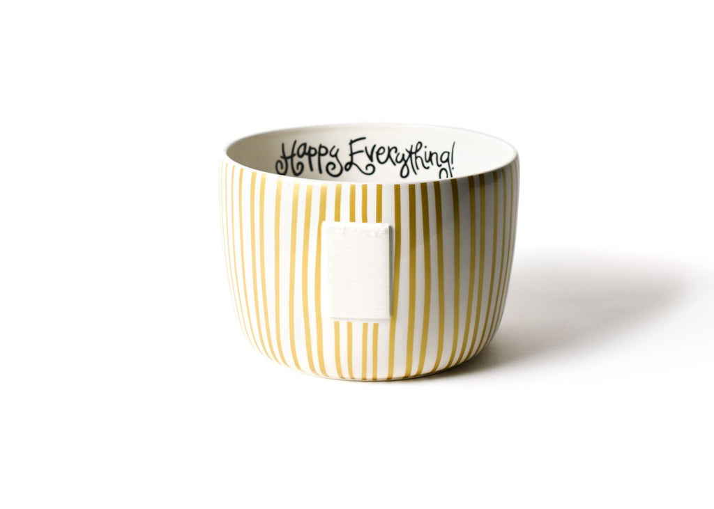 Gold Stripe Happy Everything Big Bowl